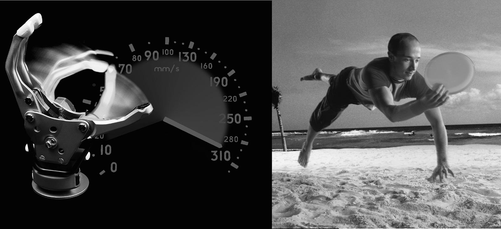 Abb. 10-16: Sensor Hand Speed: hohe Schlussgeschwindigkeit verbessert die Funktion. Das Griffstabilisierungs-System verhindert, dass Gegenstände aus der Hand rutschen. (Mit freundlicher Genehmigung der Otto Bock Health Care Deutschland GmbH)