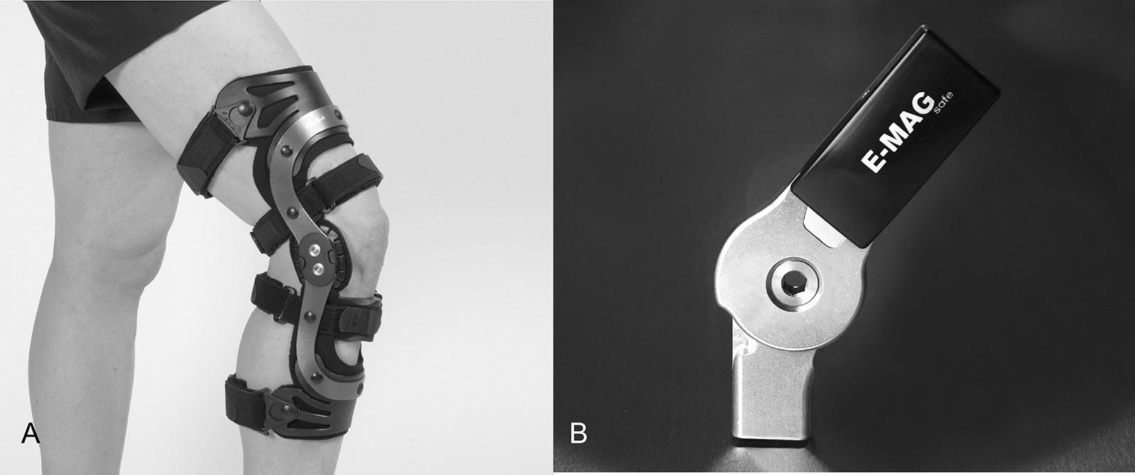 """Abb. 10-4: Genu Arexa Knieorthese (A): mit """"click to go"""" Anpassung der erforderlichen Bewegungslimitierung. E-MAG Control (B): Kombination aus Mechanik und Elektronik, die Sperrfunktion des Orthesenkniegelenks wird über eine drahtlose Fernbedienung gesteu"""