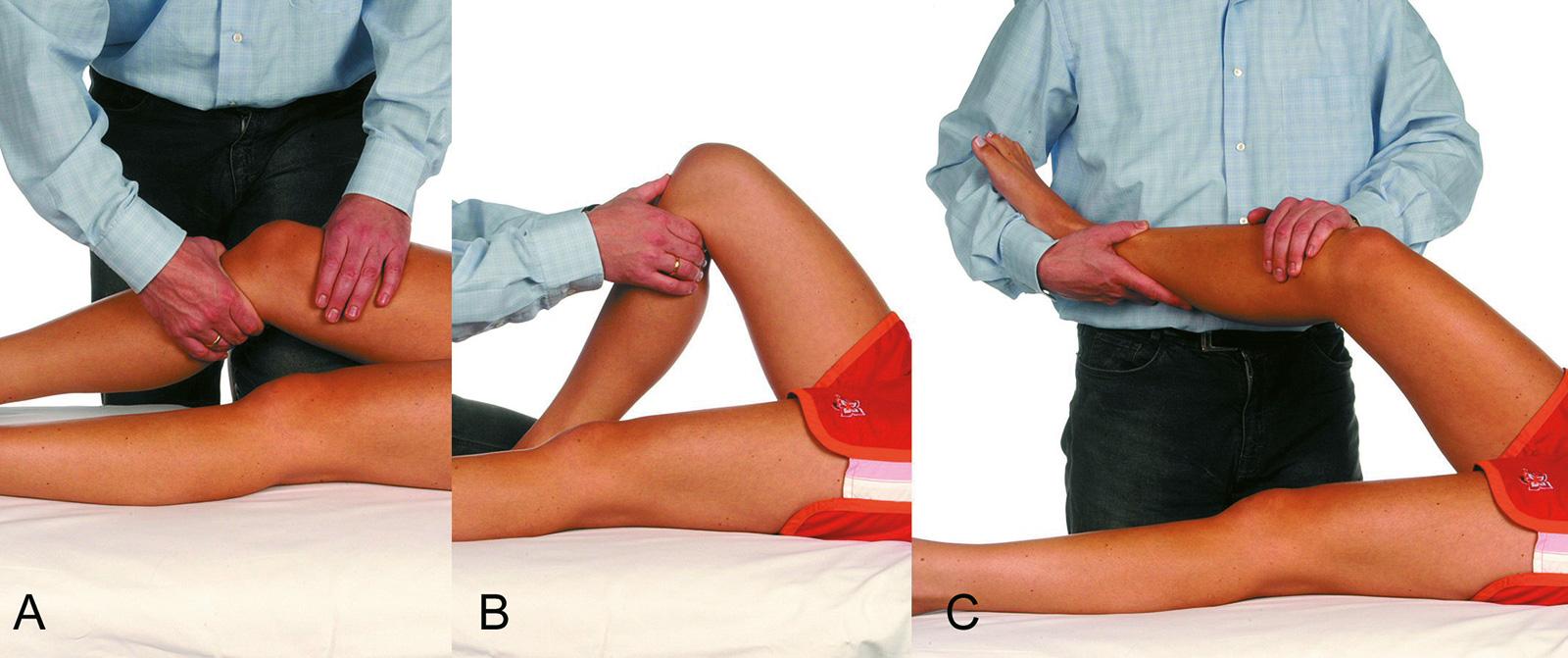 Abb. 2-40: Untersuchung des Kniegelenks: Lachmann Test (A), vordere Schublade (B), Pivot Shift-Test (C)