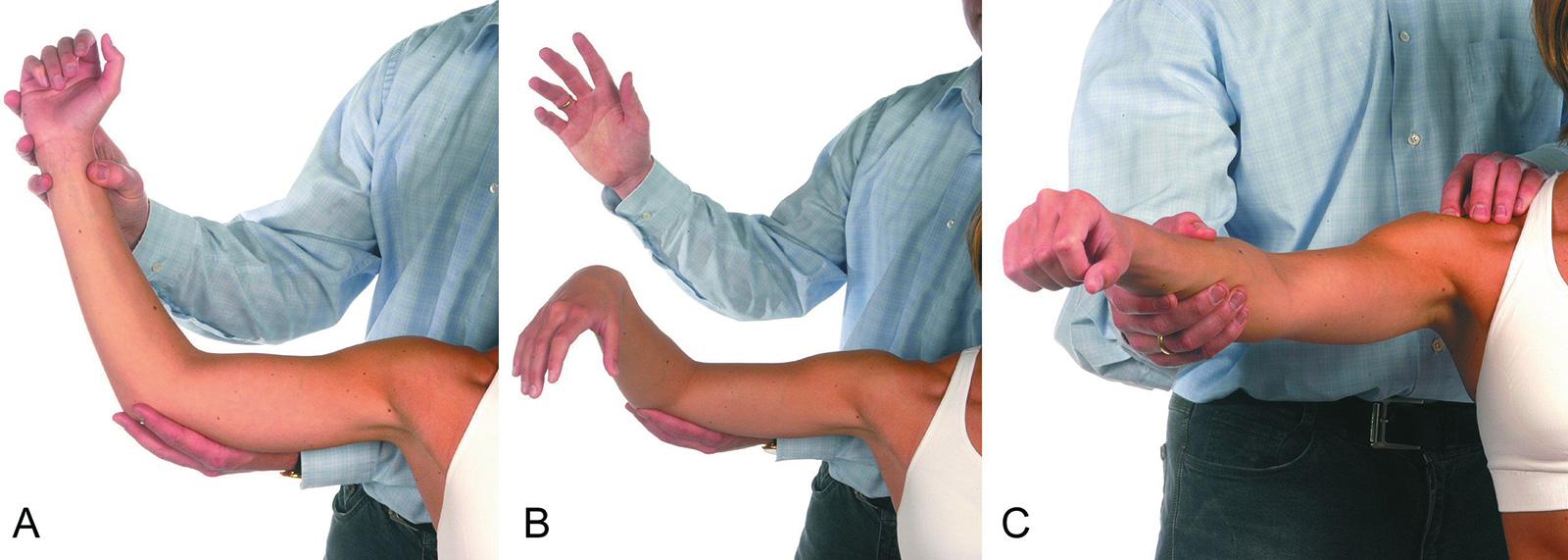 Abb. 2-4: Drop-Arm-Zeichen (A,B) und Impingement Test nach Neer (C)