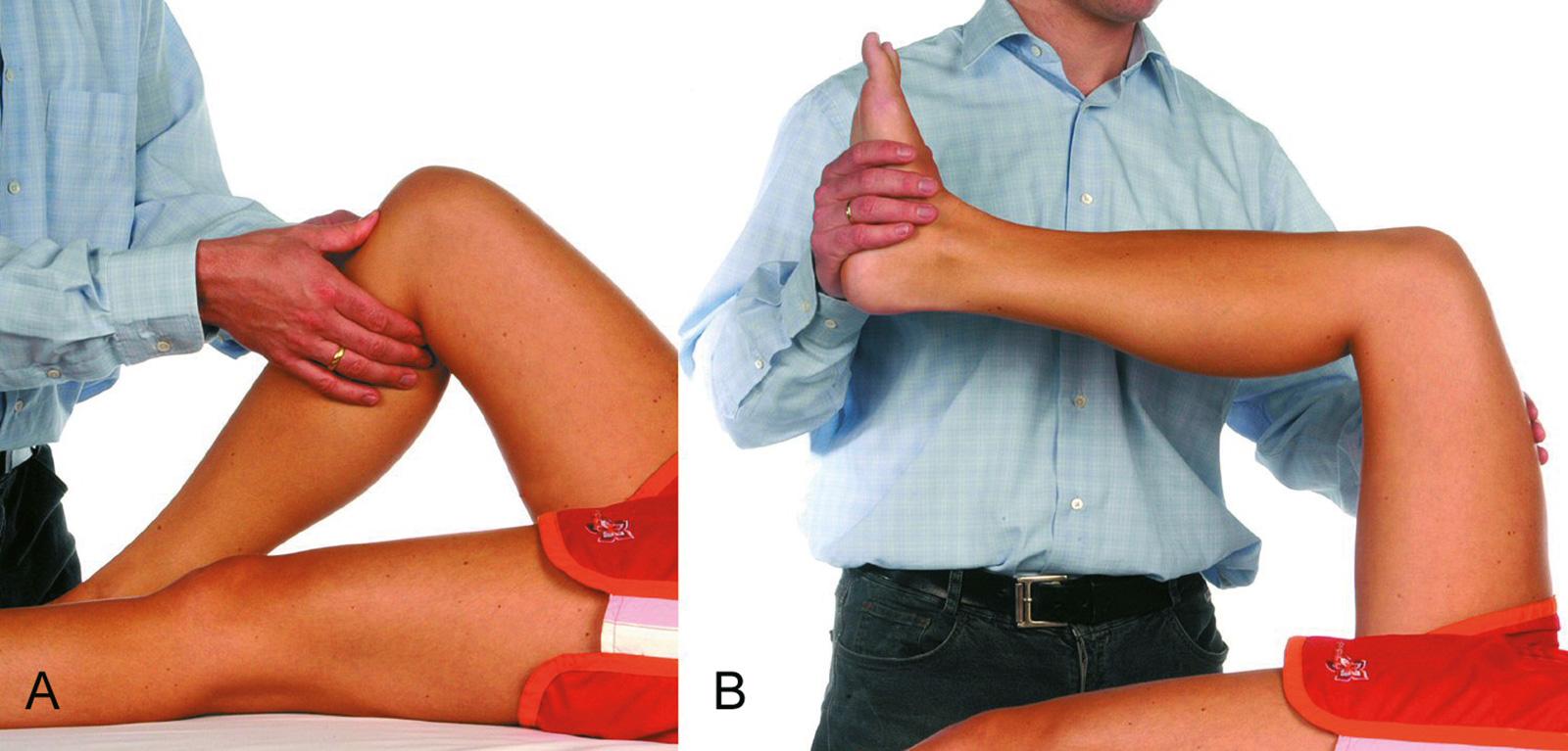 Abb. 2-46: Klinische Untersuchung einer hinteren Kreuzbandruptur: hintere Schublade (A) und Quadrizepstest (B)